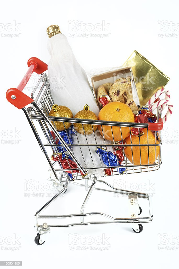 Shopping cart with Christmas gifts royalty-free stock photo