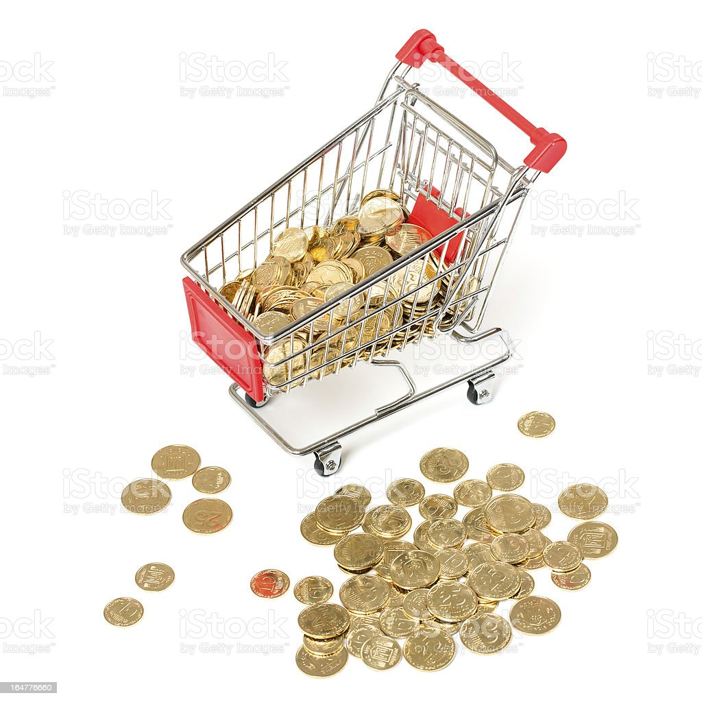 Shopping Cart with coins royalty-free stock photo