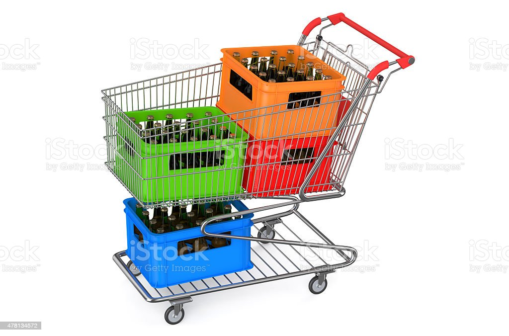 shopping cart with crates beer stock photo