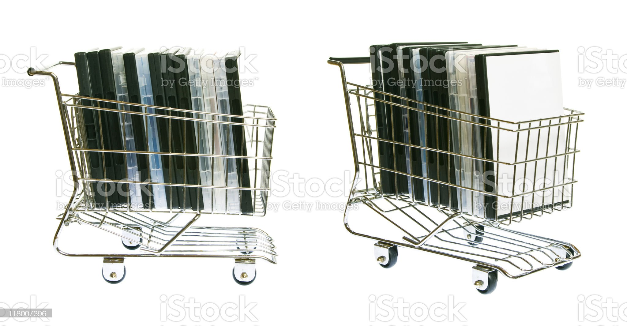 shopping cart with DVDs royalty-free stock photo