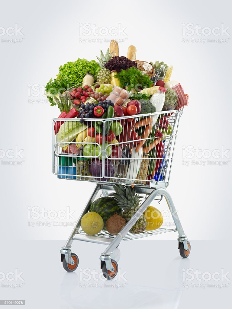 shopping cart with food stock photo