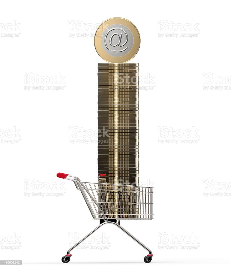 shopping cart with internet coin isolated on white stock photo