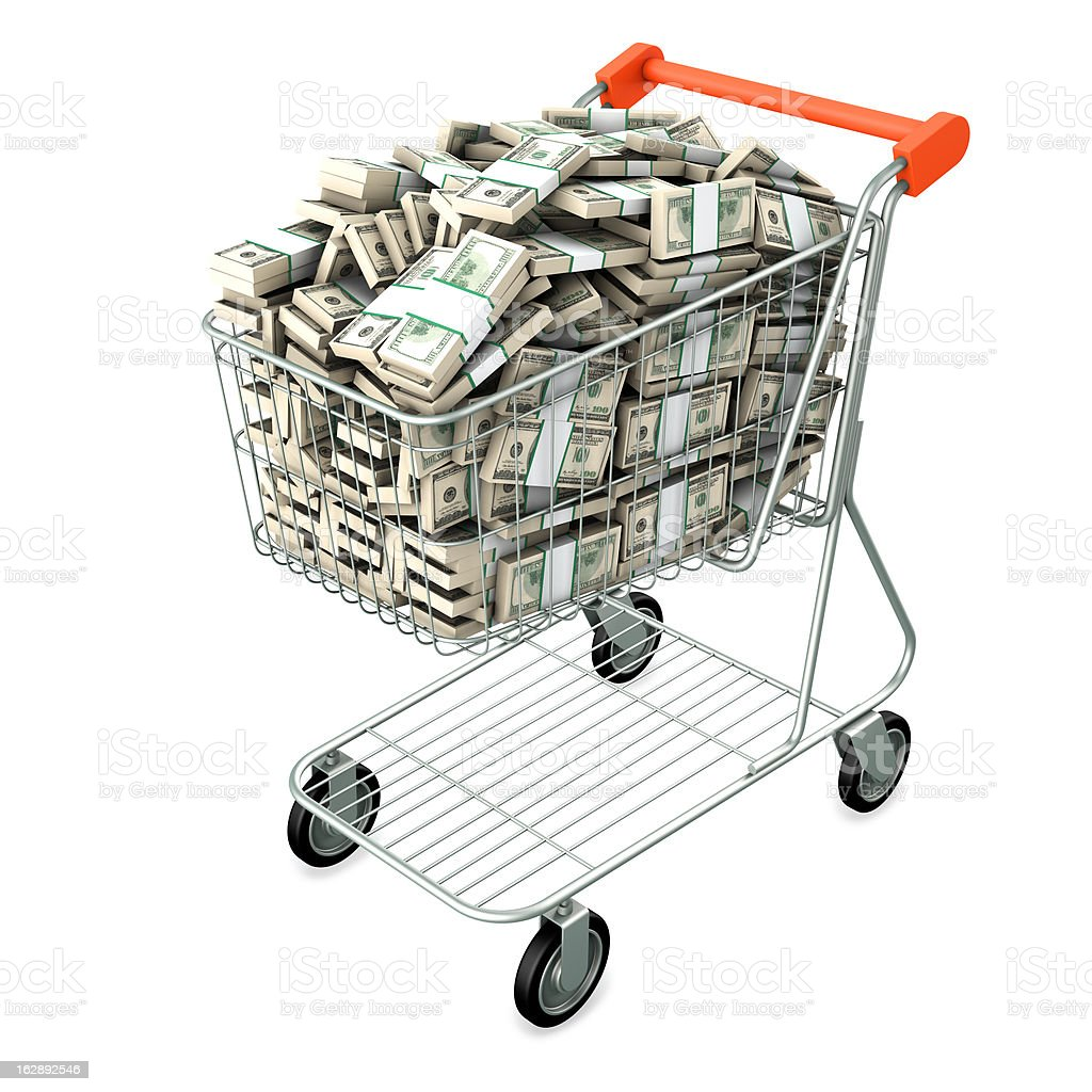 Shopping cart with many dollars royalty-free stock photo