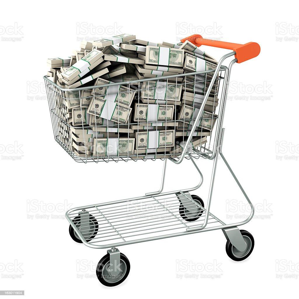 Shopping cart with many dollars. royalty-free stock photo