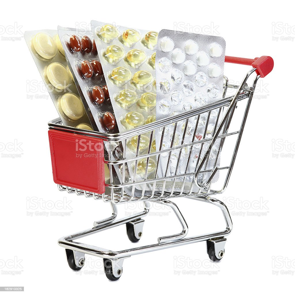 shopping cart with medicine isolated on white stock photo