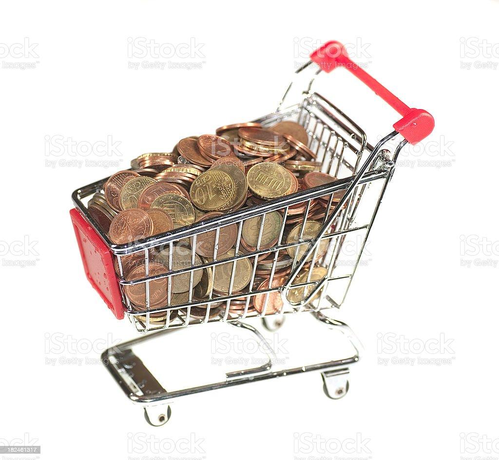 shopping cart with money - Einkaufswagen mit Münzen royalty-free stock photo
