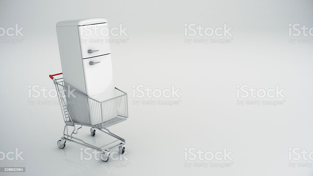 shopping cart with refrigerator stock photo