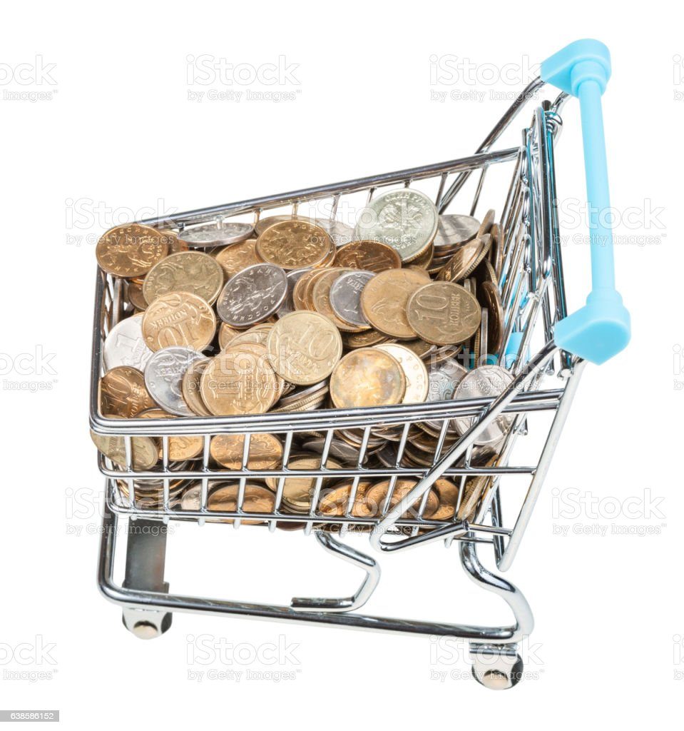 shopping cart with russian coins isolated stock photo