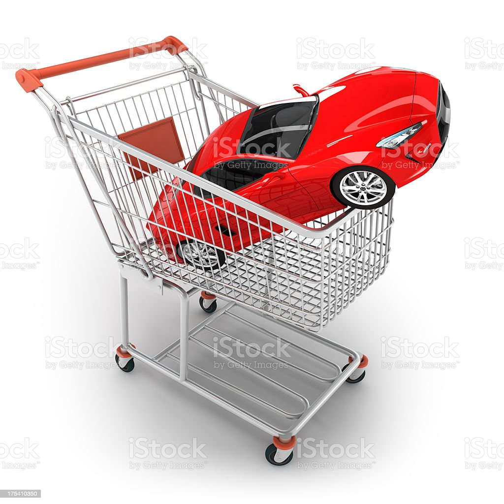 Shopping cart with sports car - isolated / clipping path royalty-free stock photo