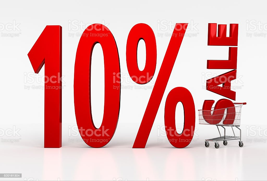 Shopping cart with ten percent discount sign on white background stock photo