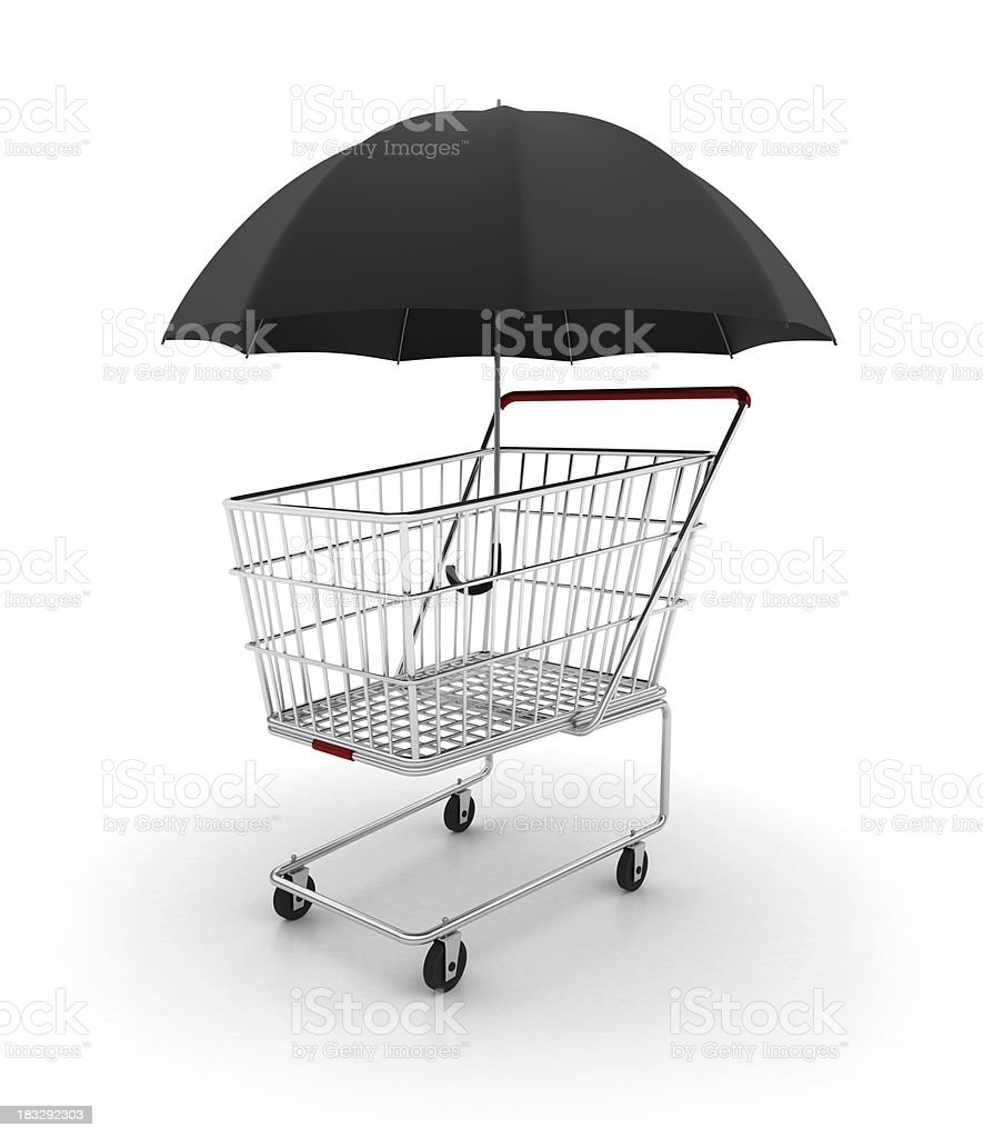 Shopping cart with umbrella royalty-free stock photo