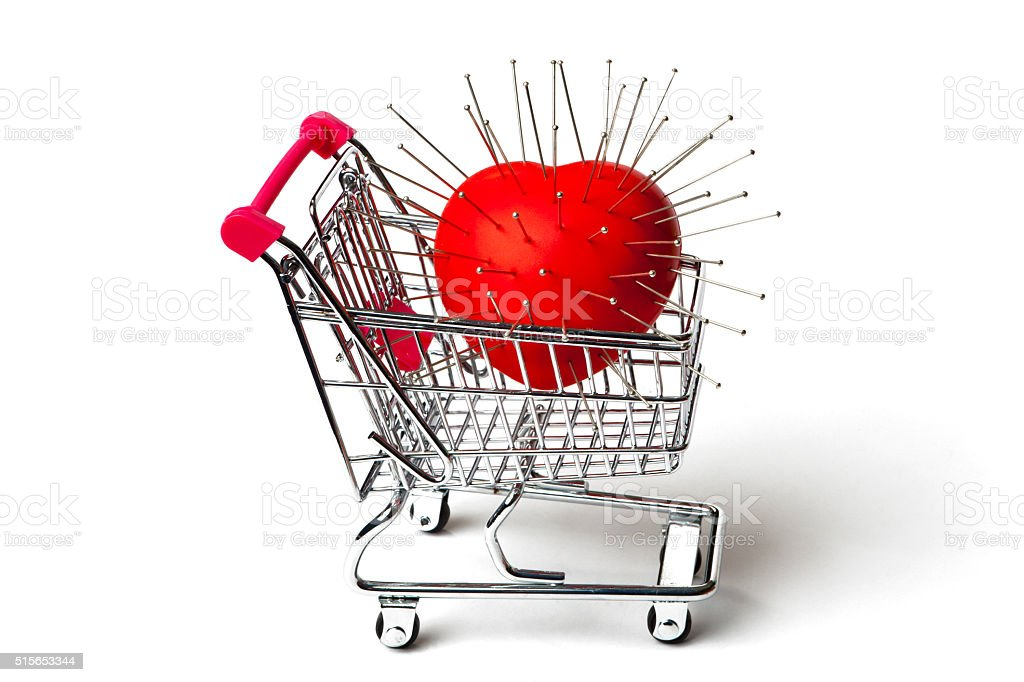 Shopping Cart with Voodoo Heart stock photo