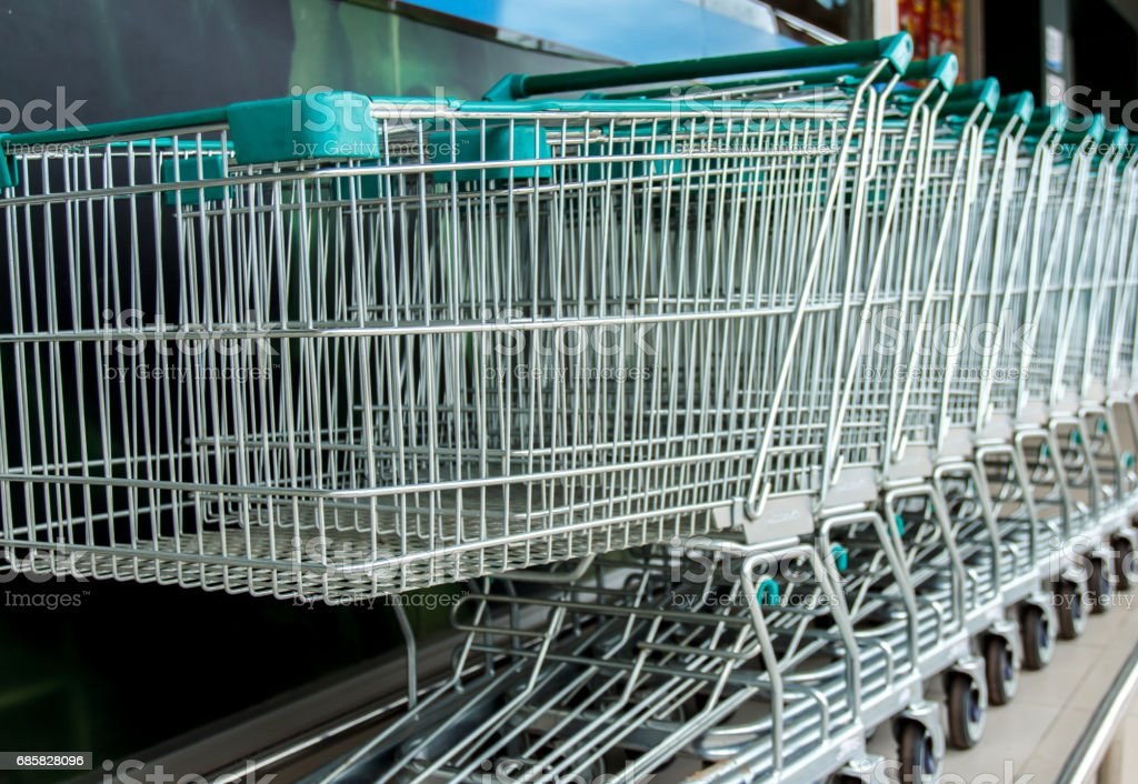shopping carts against supermarket. stock photo