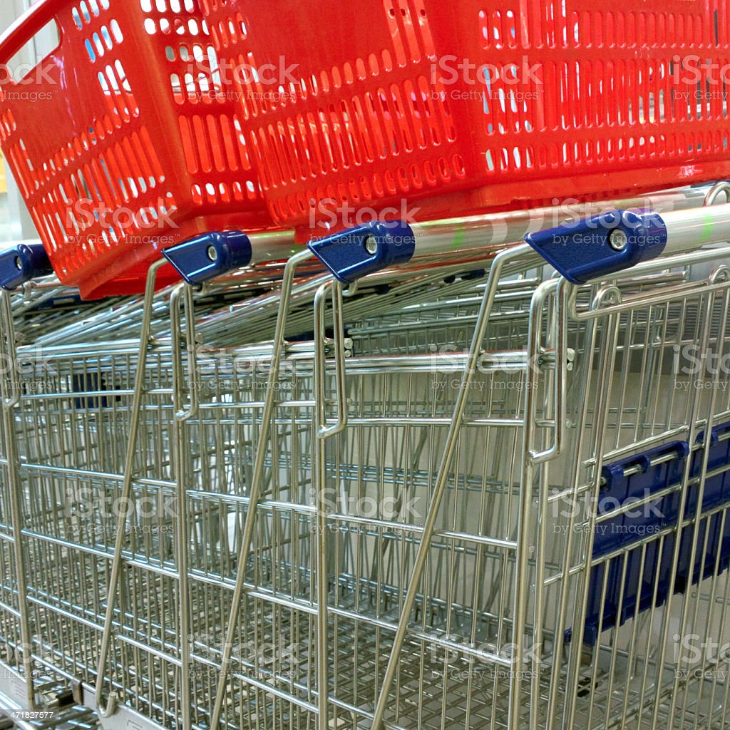 Shopping carts and baskets. royalty-free stock photo