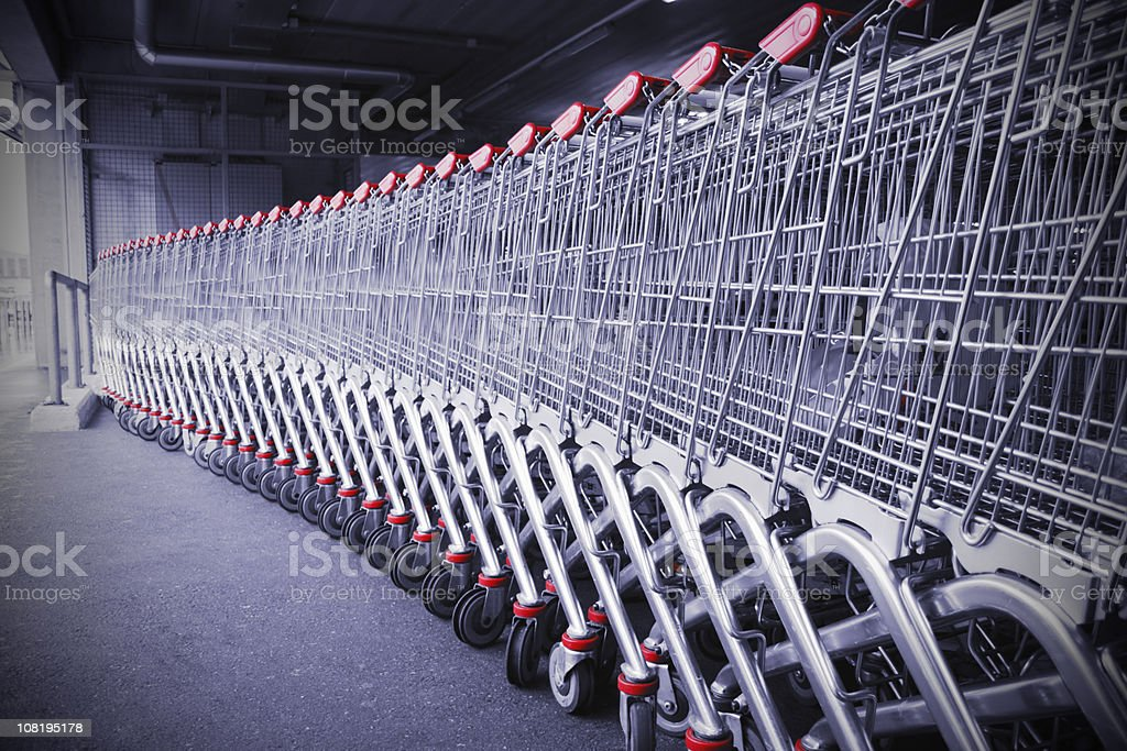 Shopping carts in a row royalty-free stock photo