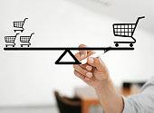 shopping carts in balance
