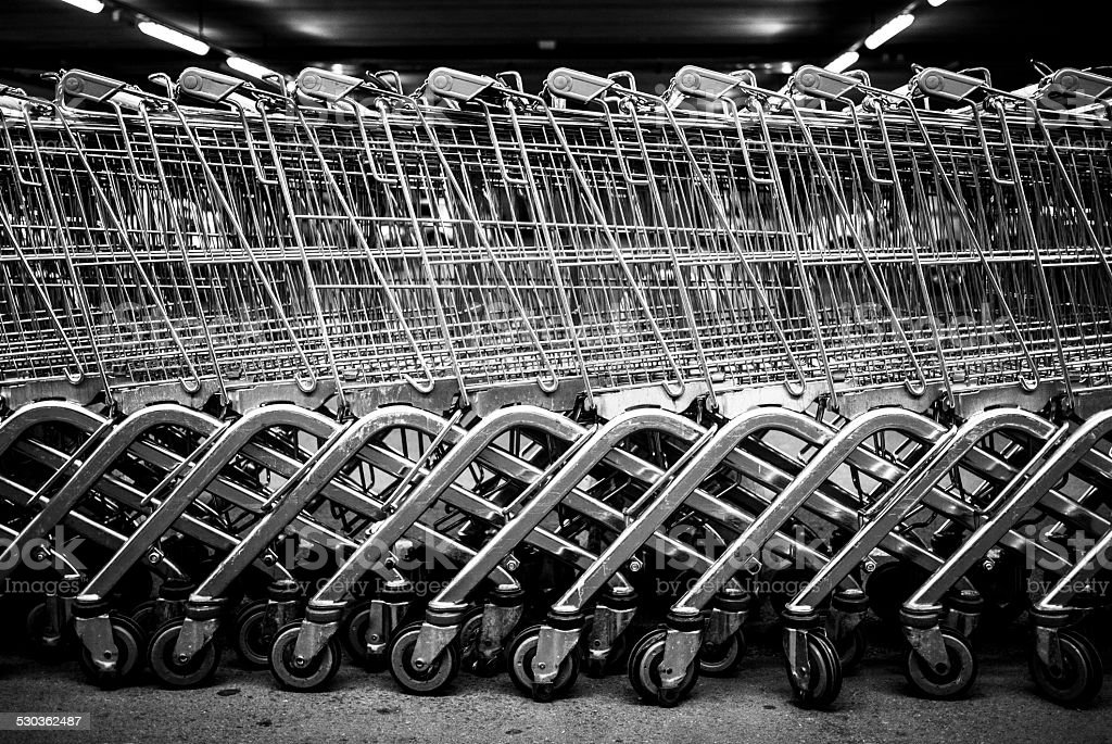 Shopping carts in black and white stock photo