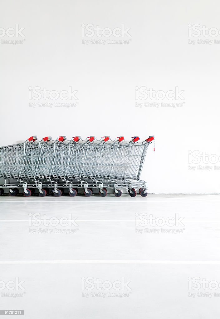 shopping carts in garages royalty-free stock photo