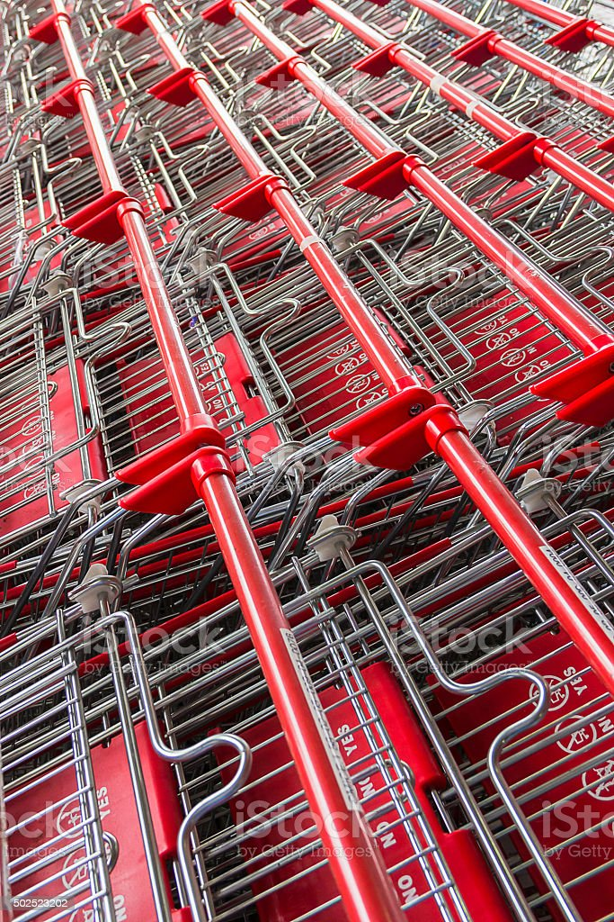Shopping carts in line stock photo