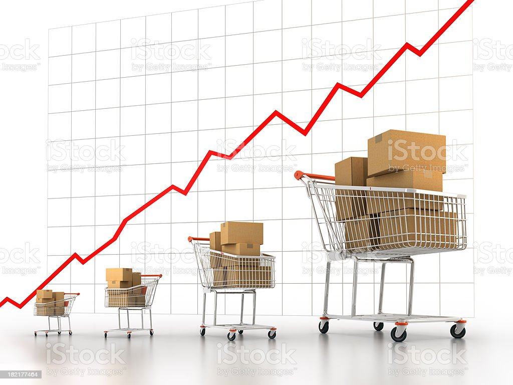 Shopping carts increasing in size (Clipping path included) royalty-free stock photo