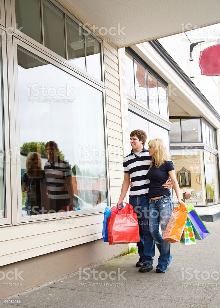 Shopping caucasian couple royalty-free stock photo
