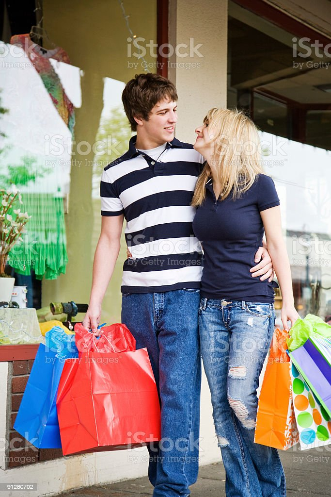 Shopping caucasian couple royalty-free stock photo