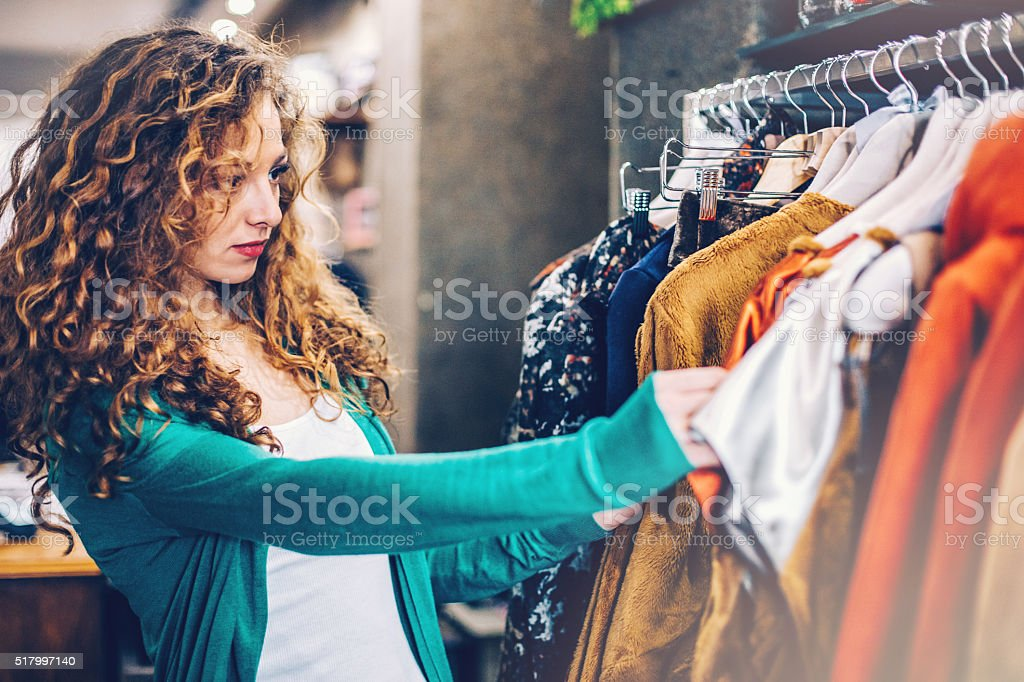 Shopping clothes stock photo