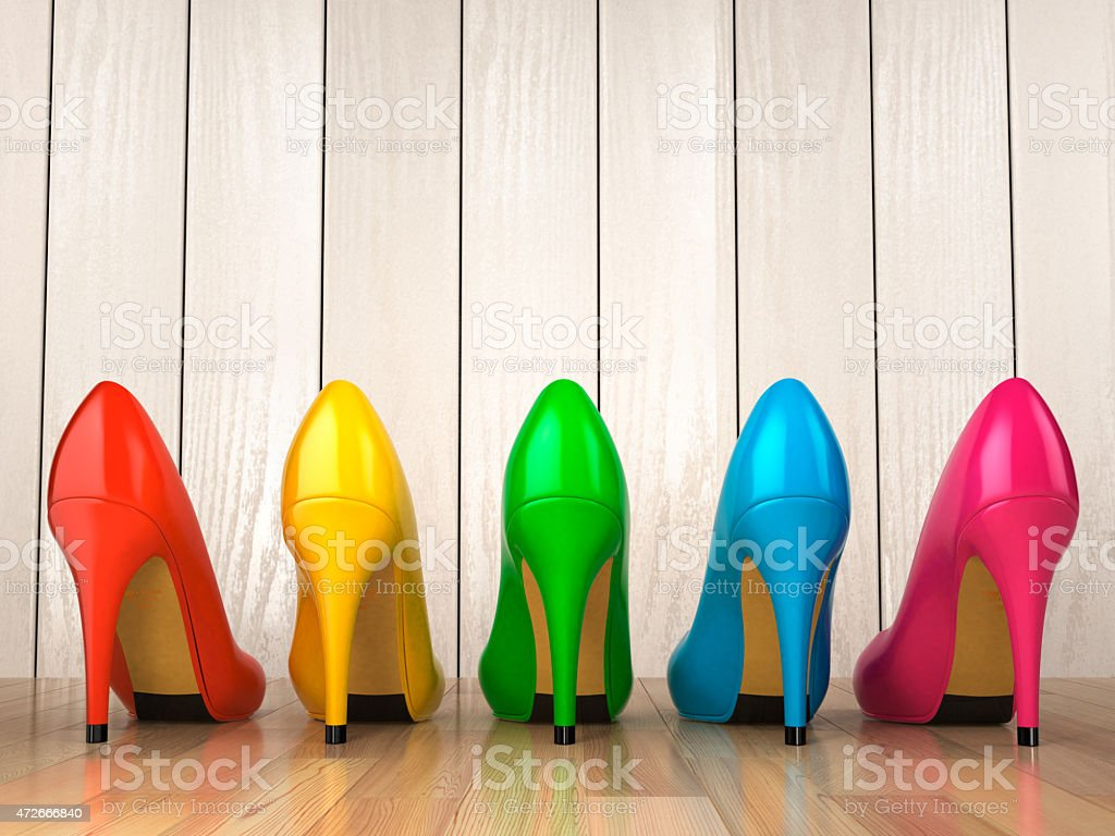 Shopping concept. Colored high heels shoes stock photo