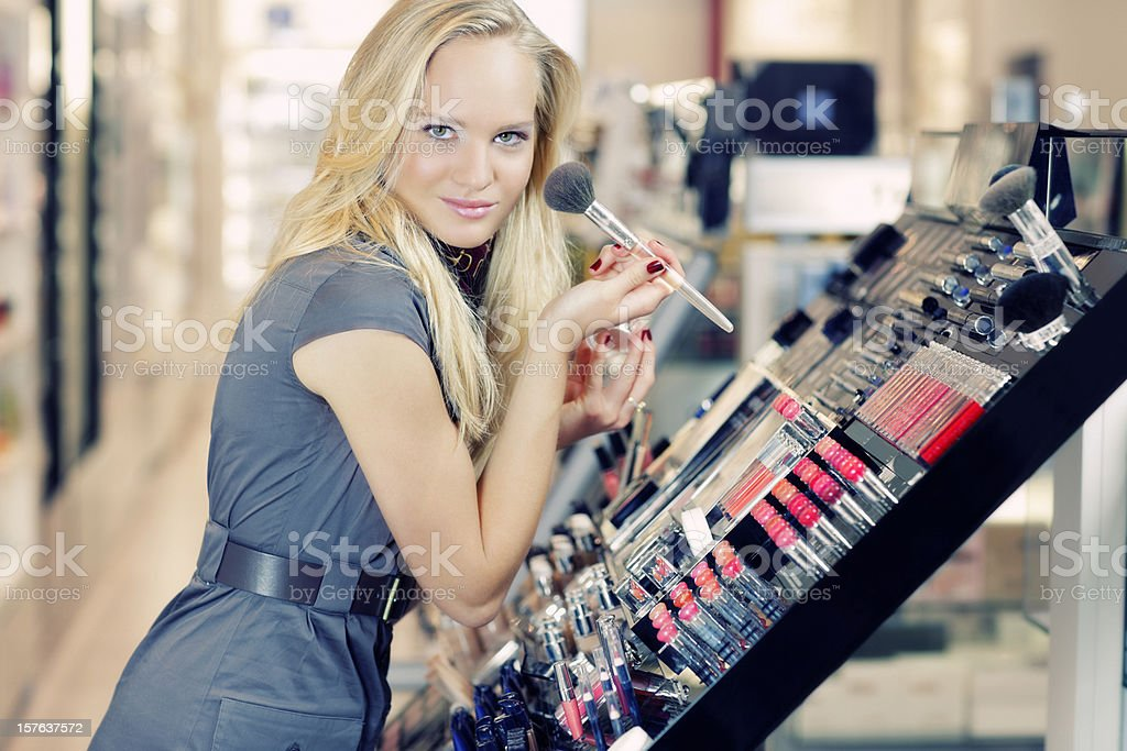 shopping cosmetics with pleasure royalty-free stock photo