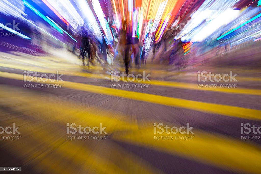 Shopping crowd zoom shooting at night stock photo