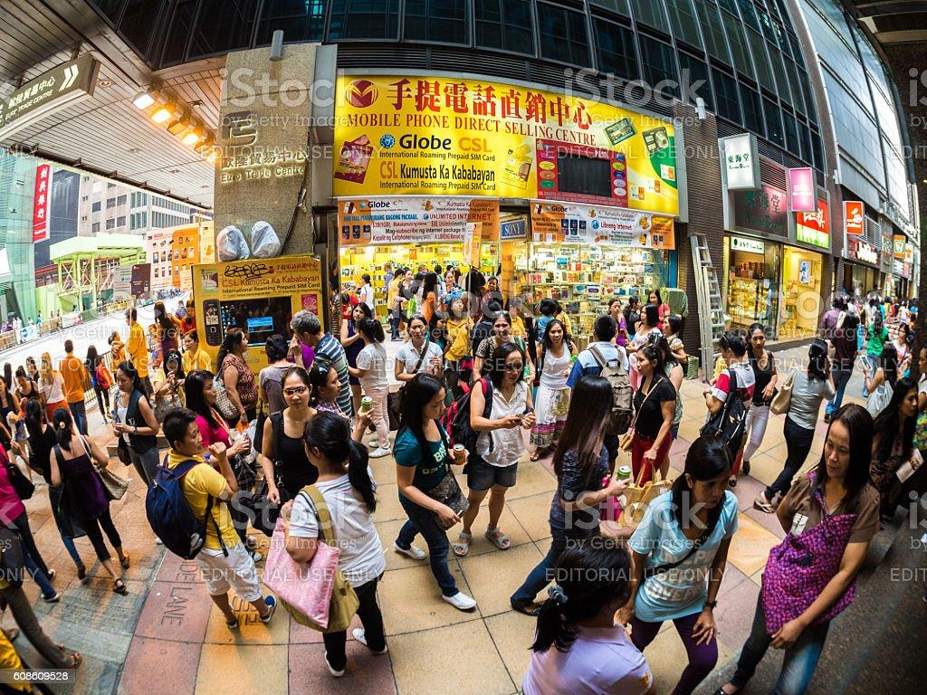 Shopping District in Hong Kong stock photo