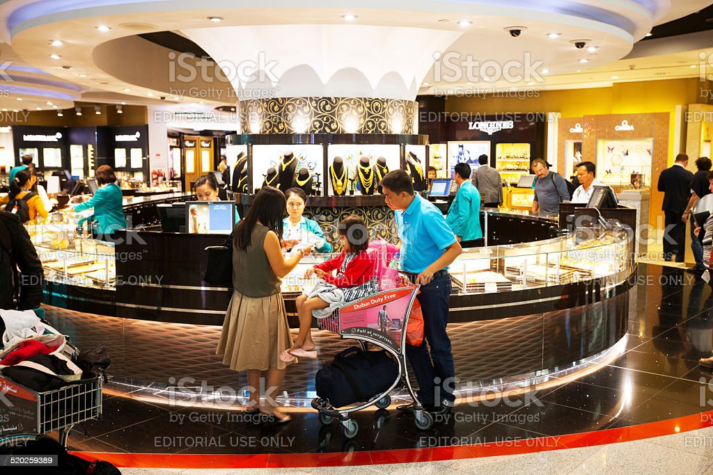 Shopping duty free jewelries stock photo