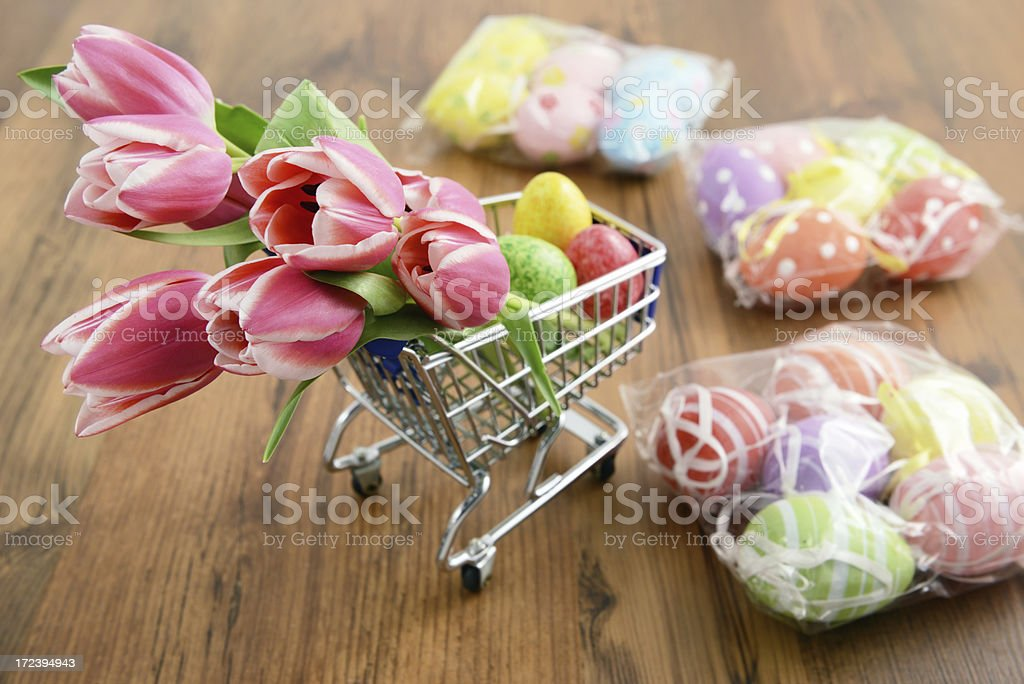 shopping easter decoration like tulips and eggs stock photo