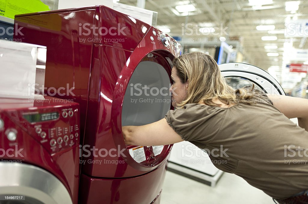 Shopping for a washer and dryer royalty-free stock photo