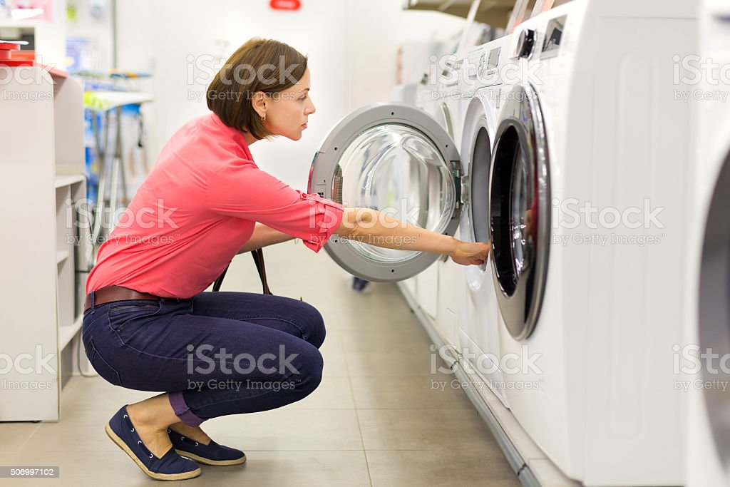 Shopping for a washer and dryer stock photo