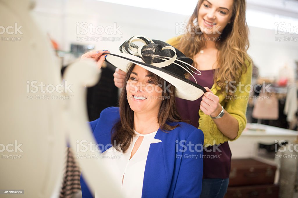 shopping for a wedding hat stock photo