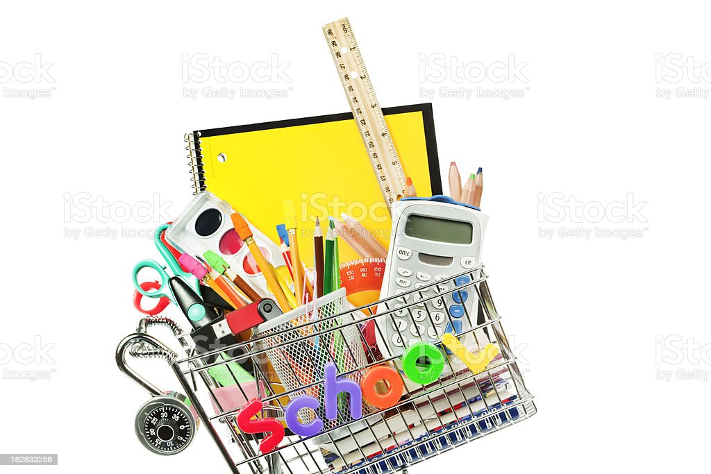 Shopping for Back to School Supplies on a White Background royalty-free stock photo