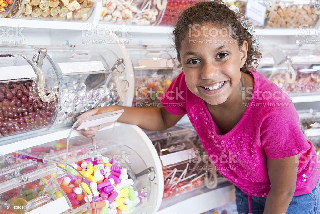 Shopping for candies stock photo
