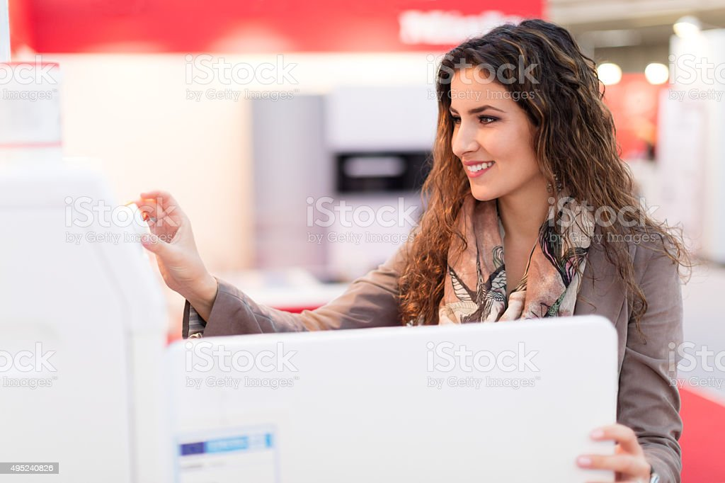 Shopping for dryer machine stock photo