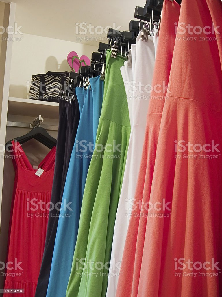 Shopping for her - Colorful summer dresses royalty-free stock photo