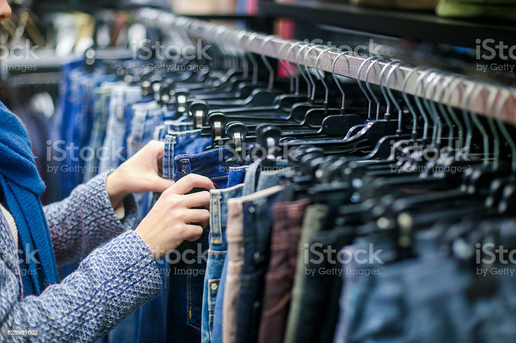 Shopping for jeans stock photo