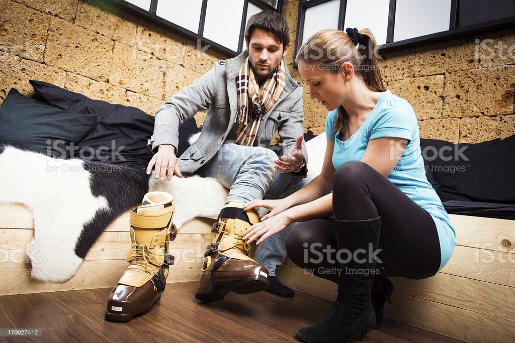 shopping for ski boots stock photo