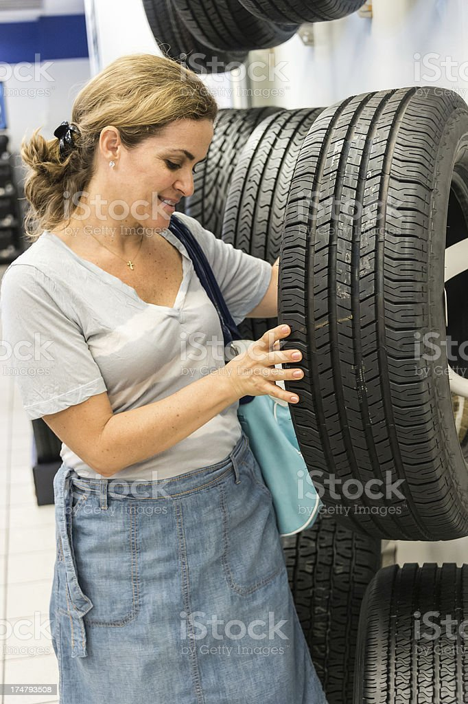 Shopping for tires royalty-free stock photo
