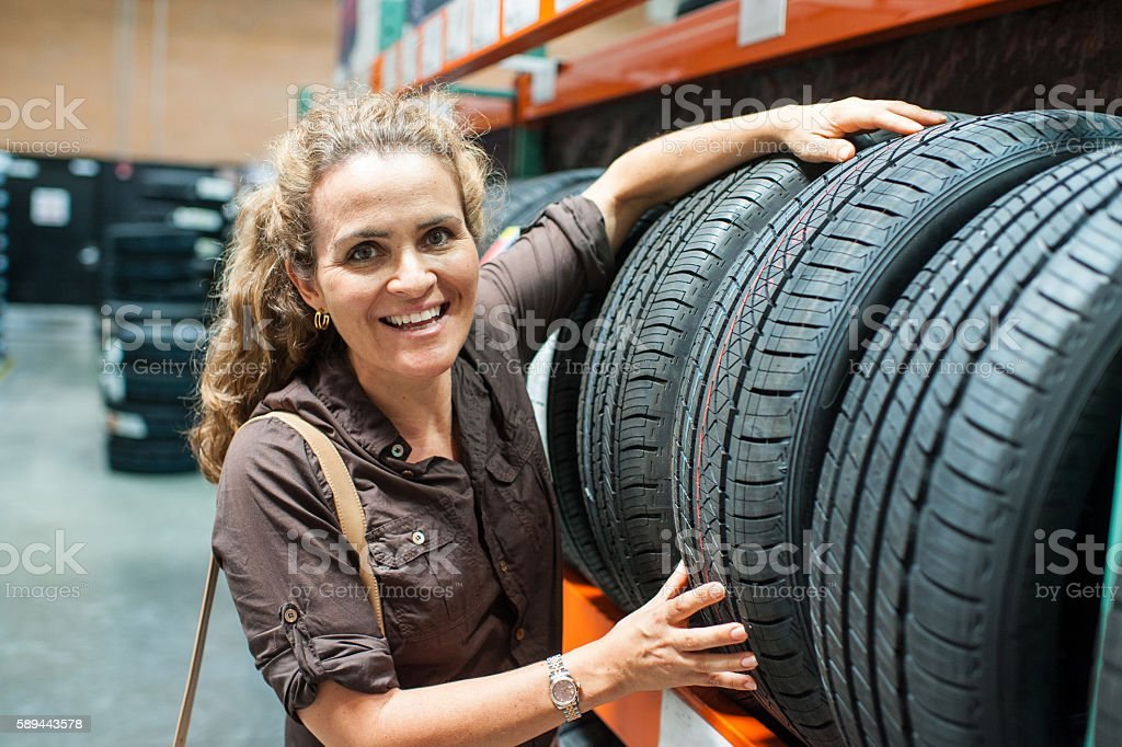 Shopping for tires stock photo