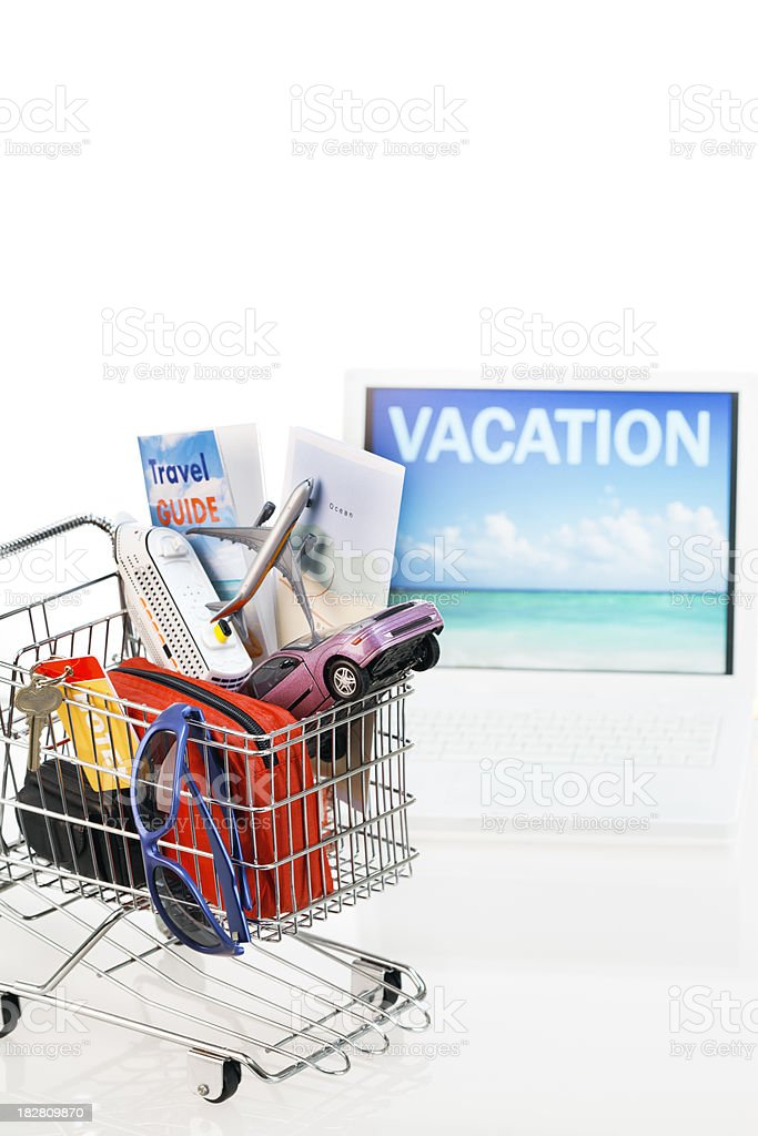 Shopping for Vacation Package On-line on Computer Vt royalty-free stock photo