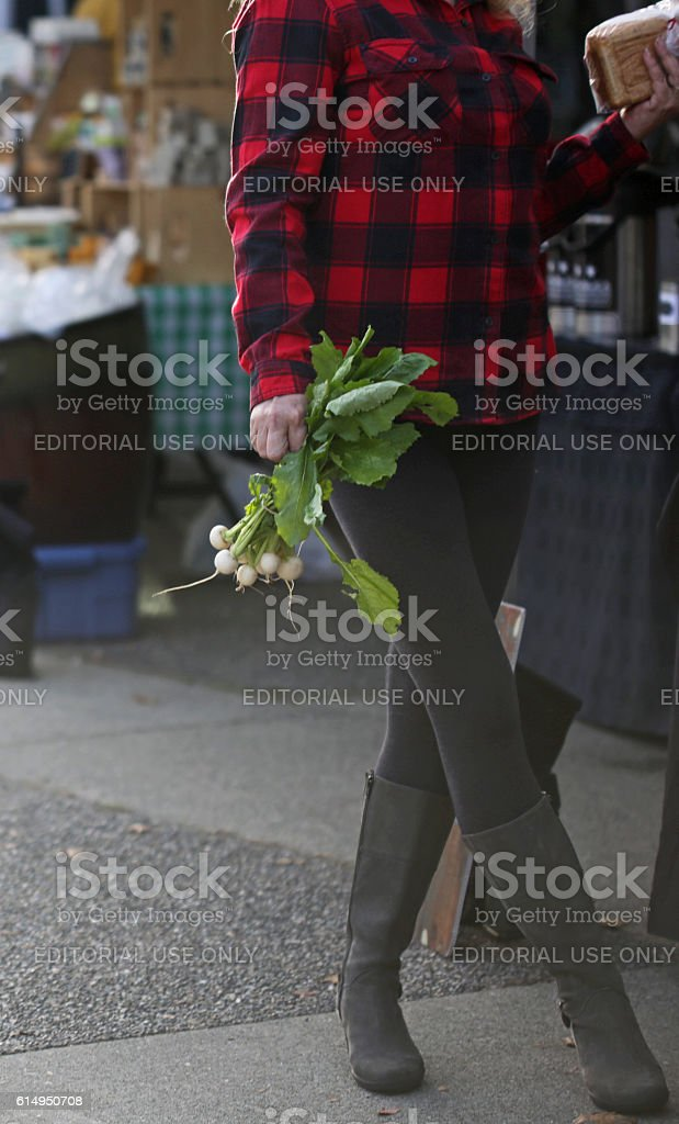 Shopping for White Turnips, Farmers Market in Canada, Autumn stock photo