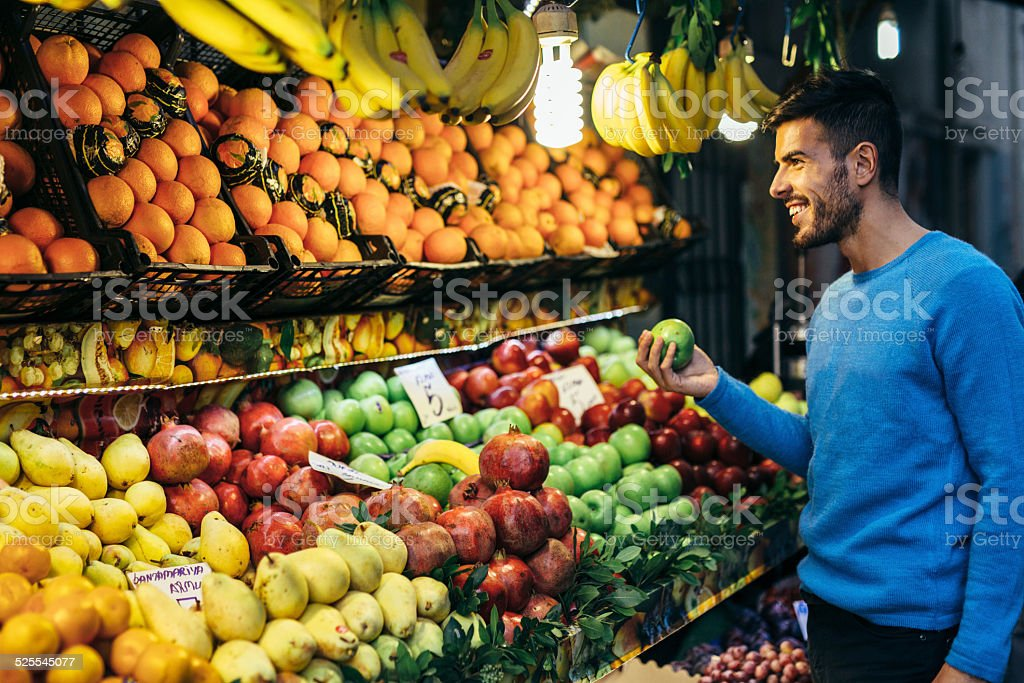 Shopping fruits stock photo