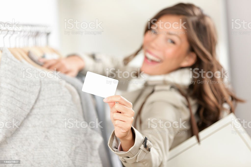 Shopping gift card sign woman royalty-free stock photo