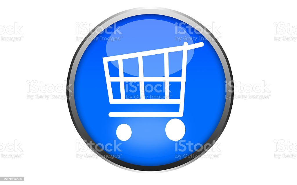Shopping icon glossy blue round button3-Stock Image stock photo