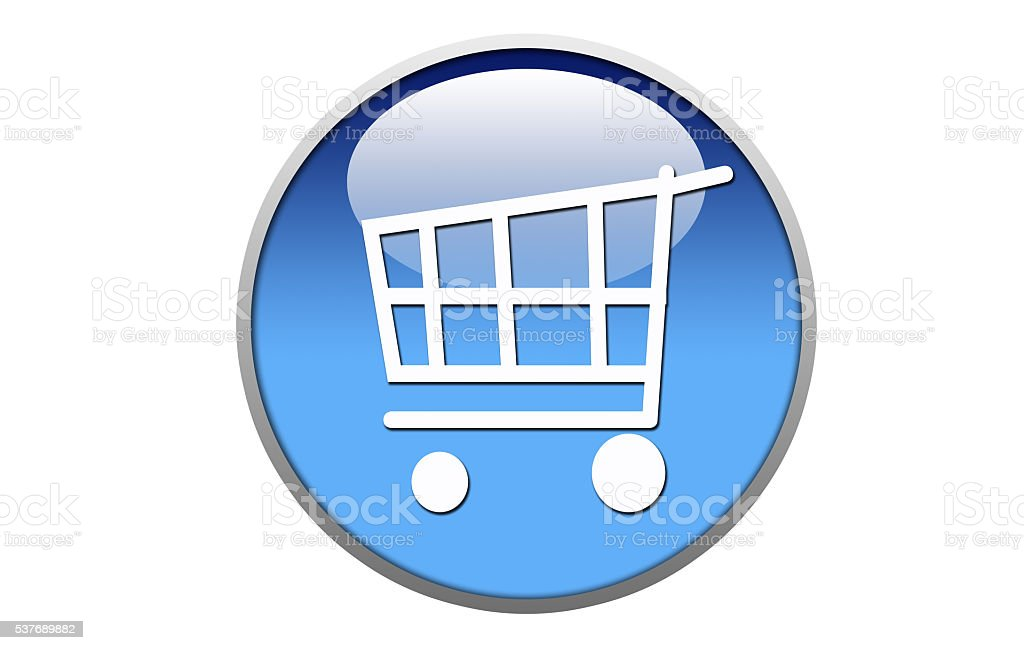 Shopping icon glossy blue round button-Stock Image stock photo